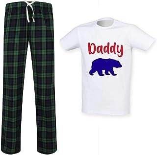 Mens Daddy Bear Tartan Trouser Pyjama Set Family Matching Twinning Family