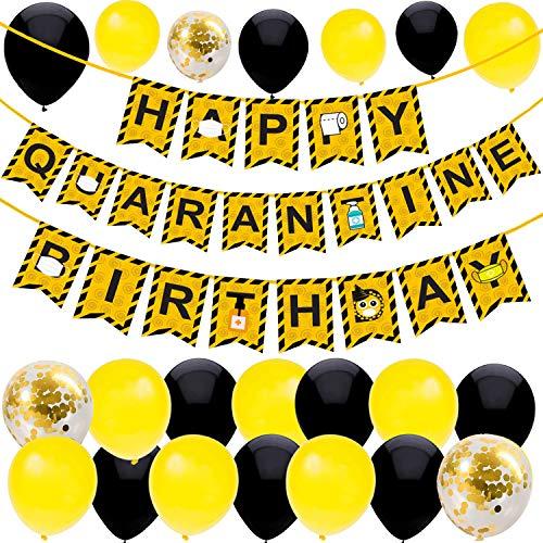 53PCS Decorazioni per feste di compleanno in quarantena Banner di quarantena Palloncini per feste di compleanno in quarantena Palloncini gialli e neri Nastro di avvertimento Forniture per feste in