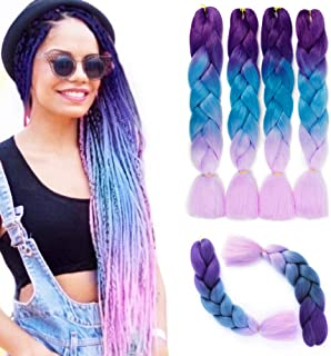 4PCS/Lot Ombre Kanekalon Braiding Hair Extensions Jumbo Braiding Hair High Temperature Synthetic Twist Braids Hair Extension 24 inch(light blue purple) B56