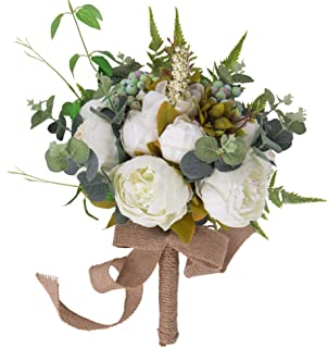 YILIYAJIA Wedding Bridal Bouquet Artificial Peony Flowers Berry Bride Wedding Holding Flowers (White)