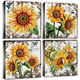 Sunflowers Kitchen Decor Wall Art Bathroom Home Decorations Living Room Accessories Canvas Print Yellow Sunshine Flowers Floral Rustic Pictures Painting Bedroom Framed Women Gifts 12x12 Inch 4 Panels
