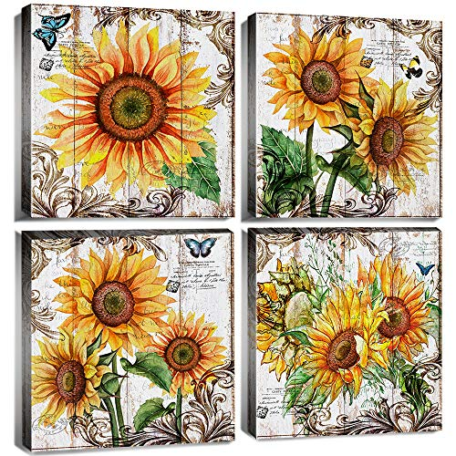 Sunflower Kitchen Decor Wall Art Rustic Fall Decor Sunflower Bathroom Picture Canvas Wall Art Yellow Flower Artwork Decorations for Bedroom 12x12' Country Farmhouse Floral Prints Painting Poster 4 Pcs
