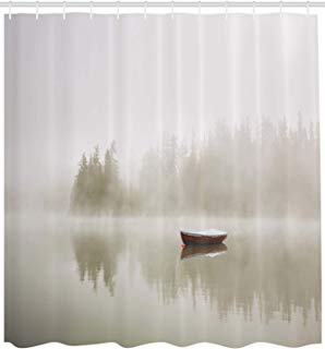 """Ambesonne Landscape Shower Curtain, Boat on The Lake with Silhouettes of Trees on The Water Sky Nature Art, Cloth Fabric Bathroom Decor Set with Hooks, 84"""" Extra Long, Eggshell Brown"""