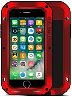 iPhone 6 Plus/iPhone 6S Plus Water Resistant Case, X-FASH Heavy Duty Full-body Shock/Snow/Dust Proof Aluminum Metal Rugged Tough Gorillas Glass Cover for iPhone 6 Plus/iPhone 6S Plus (Red)