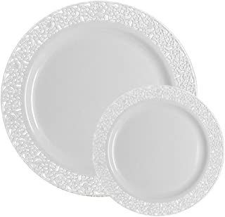 TTG 50-Piece Plastic Dinnerware Set | Lace Collection | (25) Dinner Plates & (25) Salad Plates | Heavy Duty Premium Plastic Plates for Wedding, Parties, Camping & More (White)