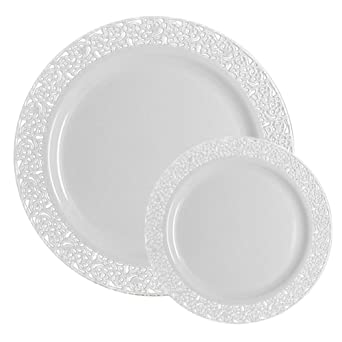 Amazon Com Ttg 200 Piece Plastic Dinnerware Set Lace Collection 100 Dinner Plates 100 Salad Plates Heavy Duty Premium Plastic Plates For Wedding Parties Camping More White Kitchen Dining