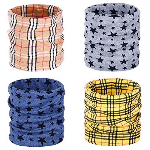 ANSUG 4 pezzi scaldacollo in cotone per bambini, Ring Infinity Loop Foulard da collo Sciarpe Morbida sciarpa traspirante Snood Cappello Bandana per ragazze dei ragazzi