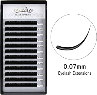 LASHVIEW 0.07 Thickness Silk Mink Eyelash Extension C curl 9mm Premium Volume Lashing Building Individual Lash Extensions Semi-permanent False Eyelashes Handmade Soft False Eyelashes (Salon Use)