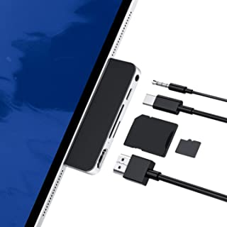 iPad Pro Adapter, USB C Hub Dongle Adapter for iPad Pro 2020-2018 and iPad Air, with 4K HDMI, USB-C PD, 3.5mm Audio Jack a...