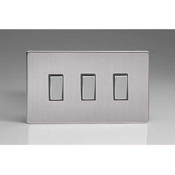 Twin plaque Varilight XDM93S Screwless Moka 3 Gang 1 ou 2 Façon Rocker Switch