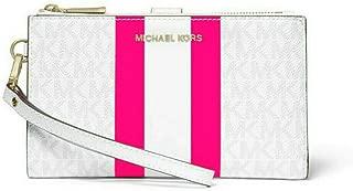 Michael Michael Kors Adele Logo Stripe Smartphone Wallet in White/Neon Pink