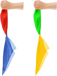 Hestya Magic Scarves Color Changing Silk Hanky Magic Props Scarf for Magic Trick Streets Toys (2 Pieces)