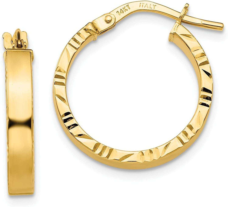 Beautiful Yellow gold 14K Yellowgold 14K Diamond Cut Edge Polished Hoop Earrings
