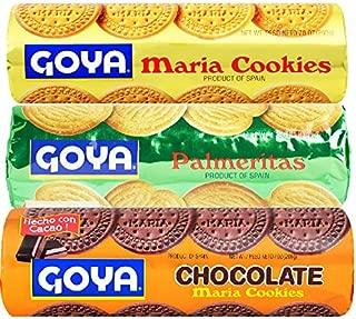 Goya Cookie Variety Pack, 1 each: Traditional Maria Cookies 7oz, Palmeritas, 5.82oz, Chocolate Maria Cookies 7oz