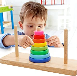 Joyeee Large Creative 8 Rings Tower of Hanoi Wooden Logic Brain Teaser Puzzle Idea