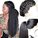 180% Kinky Straight 360 Lace Frontal Wig Brazilian Lace Front Human Hair Italian Yaki Wigs Pre Plucked With Baby Hair Virgin Lace Wig (18inch, 360 Lace Frontal Wig)