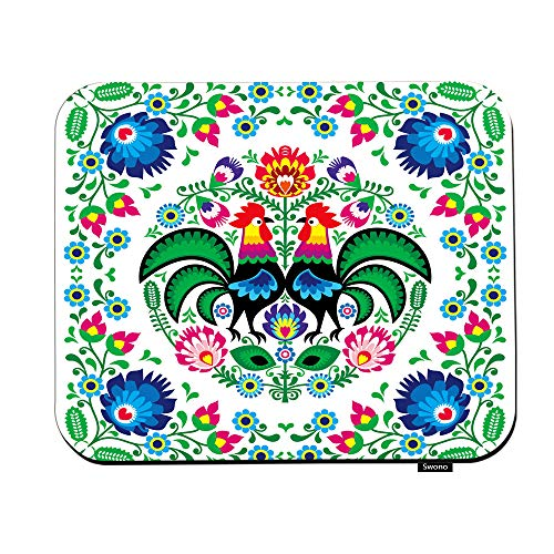 Swono Poland Flowers Mouse Pads Polish Floral Folk Art Square Pattern with Rooster Mouse Pad for Laptop Funny Non-Slip Gaming Mouse Pad for Office Home Travel Mouse Mat 7.9'X9.5'