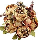 StarLifey Flores artificiales falsas flores vintage peonías ramo de flores para el hogar, oficina, fiestas, bodas, centros de mesa de centro de mesa y café DIY