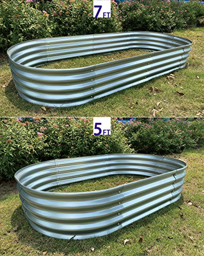 "Raised Garden Bed Metal Elevated Planter for Vegetable Flower Herb(7 ft.) 5 Product Size: 83""L x 35.5""W x 12""H Product Volume: 17.83 Cu. Ft. Suitable for planting vegetables、flowers and plants in your courtyard."