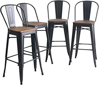 YongQiang Metal Bar Stools Set of 4 High Back Wooden Seat Industrial Indoor Outdoor Bar Chairs 30