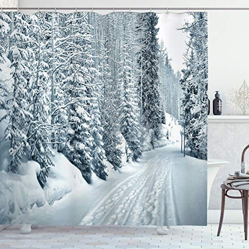 ABAKUHAUS Winter Duschvorhang, Ski Thema Snowy Road, mit 12 Ringe Set Wasserdicht Stielvoll Modern Farbfest & Schimmel Resistent, 175x180 cm, Weiß Schwarz