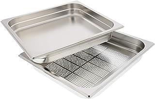 Lèche-frite en inox perforé (35,5 x 32,5 x 5cm) pour four vapeur AEG, Electrolux.
