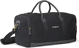 Personalized Black Canvas Duffle Bag - Embroidered Canvas Gym Bag
