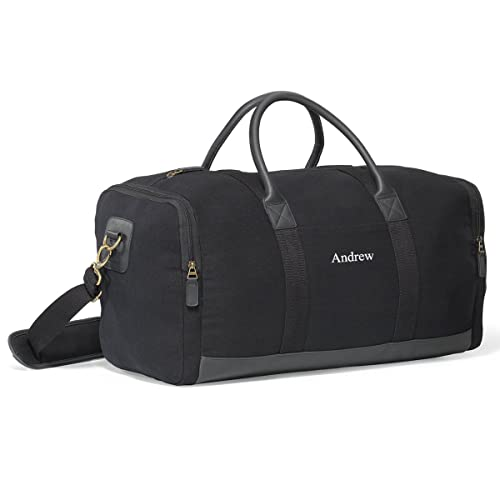 Personalized Black Canvas Duffle Bag - Embroidered Canvas Gym Bag 40eda3053963b