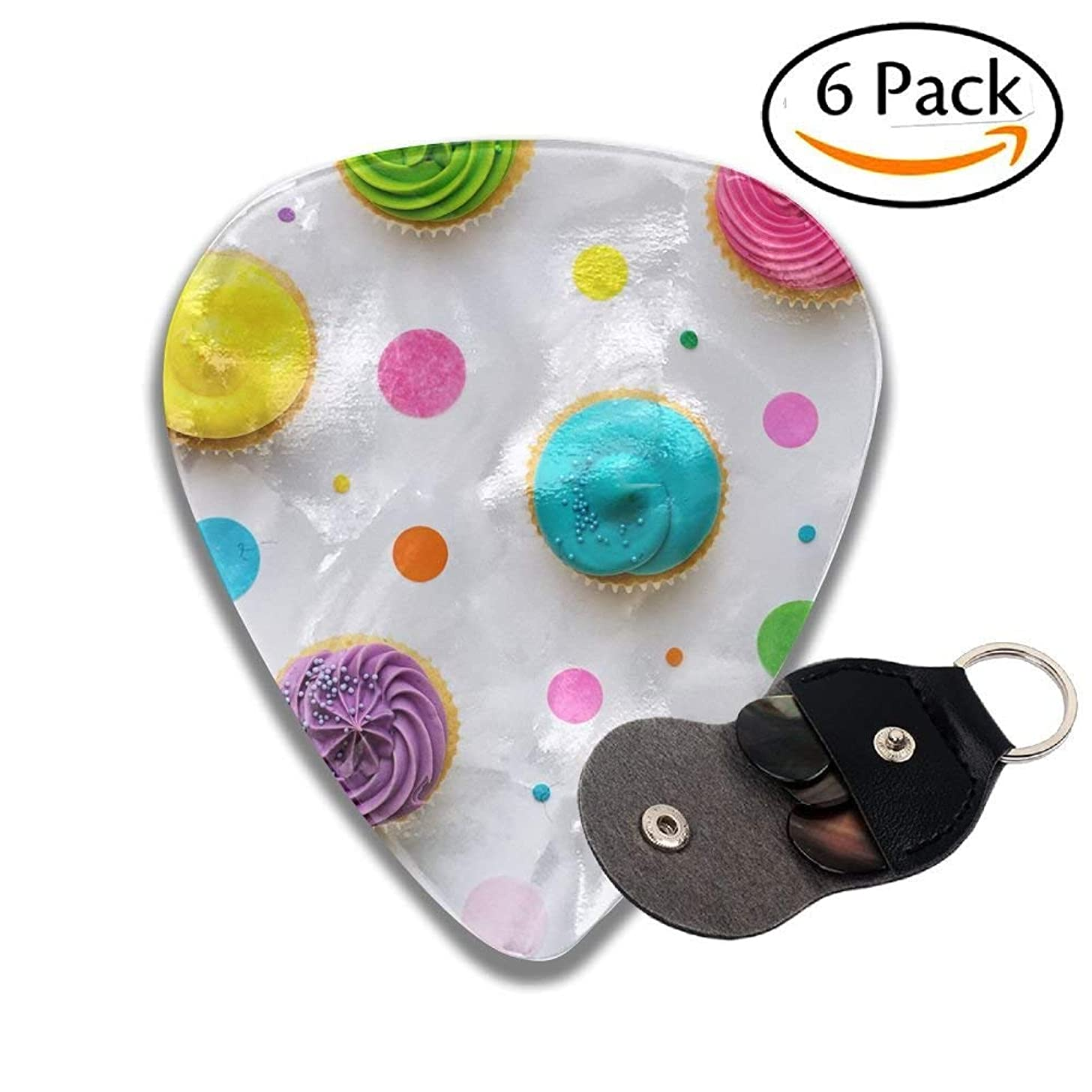 Colorful Cupcakes On A White Background Colorful Celluloid Guitar Picks Plectrums For Guitar Bass .46mm 6 Pack