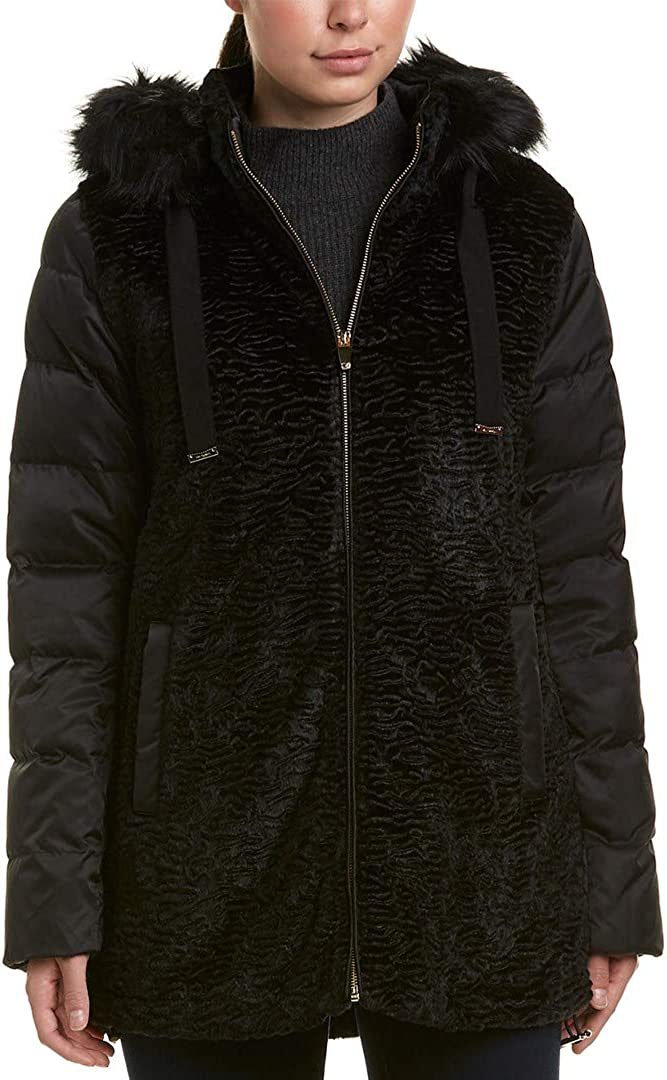 VIA SPIGA Women's Mixed Media Puffer with Faux Fur Trimmed Hood