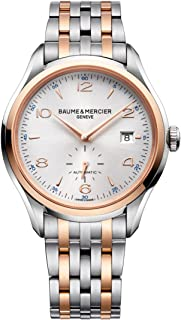 Baume & Mercier Clifton Two Tone Stainless Steel Mens Automatic Watch Sapphire Crystal - 41mm Analog Silver Face with Second Hand and Date - Swiss Made Self Winding Luxury Dress Watches For Men 10140