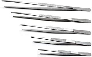 5-Piece Tweezer Set Dressing Thumb Serrated Forceps - FEITA Stainless Steel Surgical Tweezers 5, 6, 8, 10, 12 inch