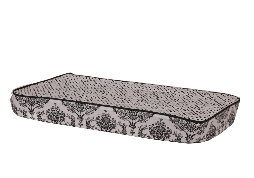 Max 67% OFF Bacati - Classic Damask White Black Changing Free Shipping New Pin Dots Pad Cover