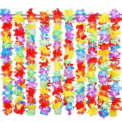 NIWWIN 20 Pezzi Hawaiian Ruffled Flower Lei Luau Floreale Leis per Abito, Spiaggia a Tema Decorazioni per Feste