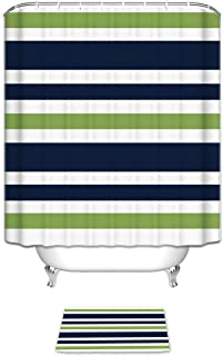 Vandarllin Navy Blue, Lime Green and White Kids Bathroom Fabric Bath Stripes Shower Curtain Sets with Mats Rugs -12 Rings