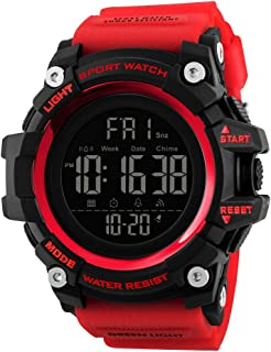 TONSHEN Multifunction Digital Sport Watch for Men Large Plastic Case with Rubber Band 50M Waterproof Outdoor Military LED Electronic Double Time Stopwatch Alarm Countdown Watches (Red) …