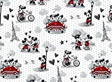 1/4 Yard - Mickey Loves Minnie Mouse Sewing Fabric 100% Cotton - Fat Quarter (18' x 21')