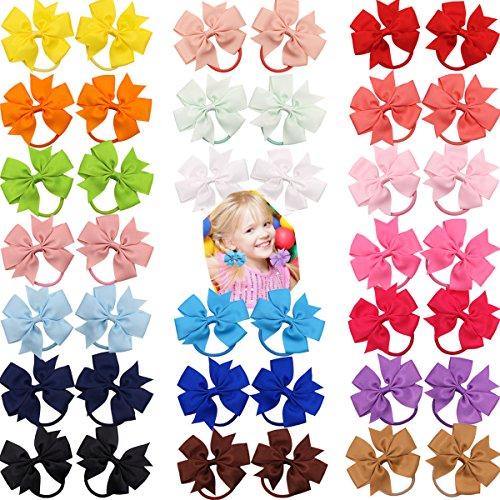 40Pcs 3.5'' Boutique Grosgrain Ribbon Hair Bows Elastic Hair Ties Ponytail Holder Hair Bands in Pairs for Girls Kids Children Teens
