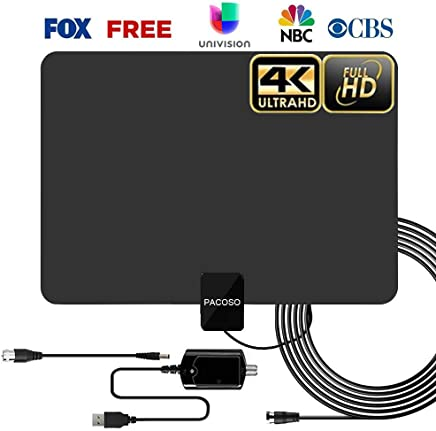 $27 Get HDTV Antenna - Digital HD TV Antenna 60-90Miles Range Compatible 4K 1080P Free TV Channels Powerful Detachable Amplifier Signal Booster,Longer Coax Cable