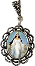 Santeria Collection Yemaya Olocum Yemanyá Lemanjá Yeya Reina del Mar Medalla con Argolla Enchape de Plata
