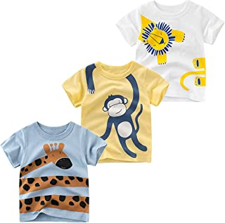 JUNOAI Toddler Little Boys Clothes 3-Pack Dinosaur Short Sleeve Crewneck T-Shirts Top Tee Size for 2-7 Years