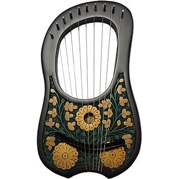 HS Lyre harpe Metal 10cordes Instrument Shesham Bois/Lyra aigue/Lyre Harfe/Arpa BLACK FLOWER DESIGN