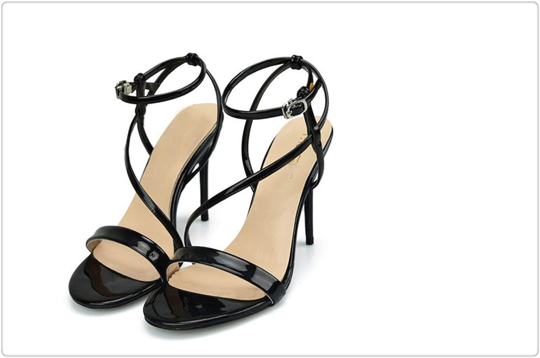 HAHUTG& New 2018 Summer Women High Heel Casual Female Sandals Patent Leather Thin Heels Women's Sandals Sexy High Heel Sandals Women Black 7.5
