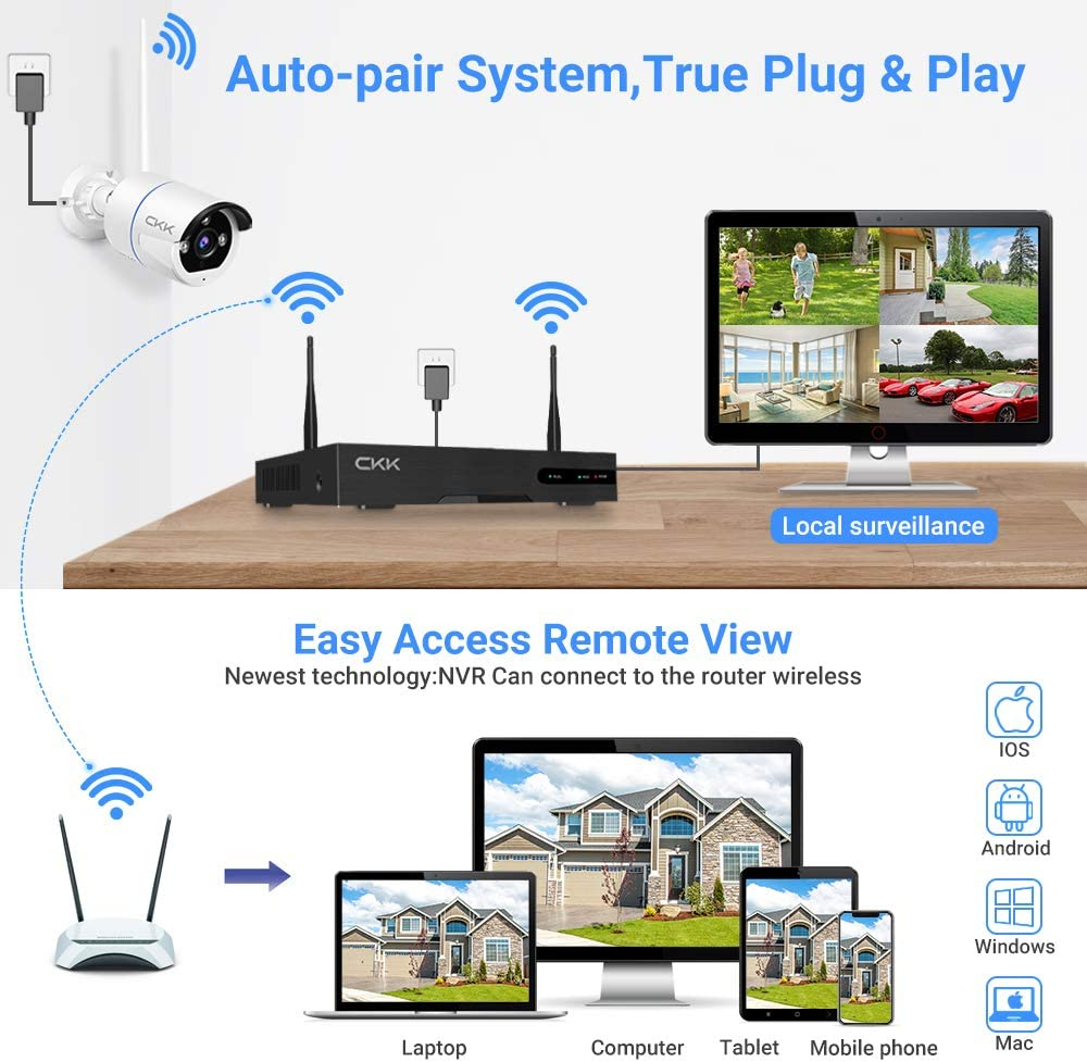 【Two-Way Audio】 CKK Wireless Security Camera System with 1TB HDD,Outdoor Home 5MP Surveillance Camera System with Night Vision Motion Detection APP Alarm