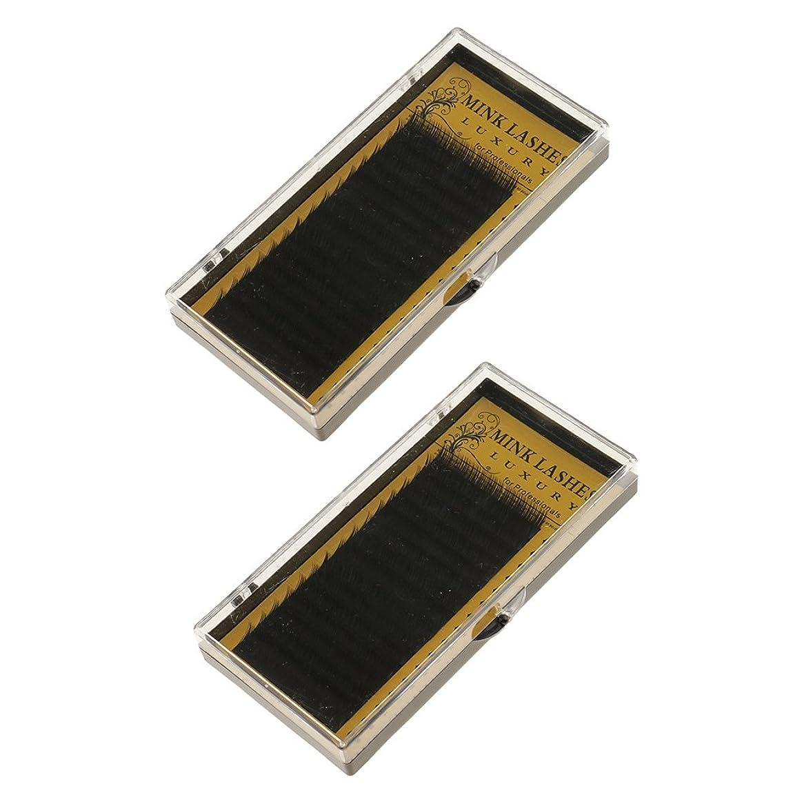 めまいがティーム使役Perfk 2箱 つけまつげ アイラッシュ エクステンション まつげ メイクアップ アイメイク ブラック ナチュラル パーティー Cカール 10mm 12mm