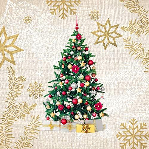 Tovaglioli di carta monouso, Elegante albero del Natale, 20 pezzi 3 strati - 33 x 33