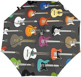 カラーアコースティックおよびエレクトリックギター 折りたたみ傘 ワンタッチ自動開閉 8本骨 耐強風 超撥水 メンズ レディース 軽量 耐風撥水 日傘 UVカット 晴雨兼用