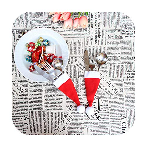 8PCS Christmas Hat Shape Kitchen Cutlery Suit Silverware Holders Pockets Knifes Folks Bag For Tables New Year Home Decor-8PCS-