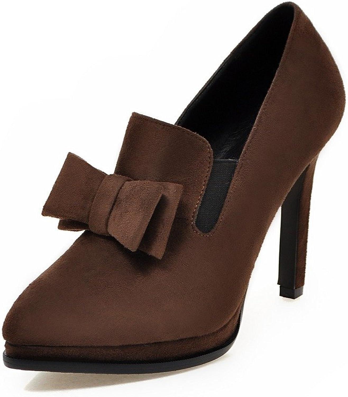 AIWEIYi Women Pumps Stiletto High Heels Sweet Bow Pointed Toe Platform Dress shoes Red