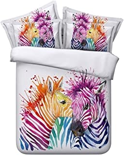 Yuxiale 3 Piece Colorful Zebra Print Duvet Cover Full for Kids Girls Teens 4D Beautiful Colorful Animal Theme Bedding Set Graphic Comforter Cover Graffiti Art Decorative Bedding for Adult and Kid
